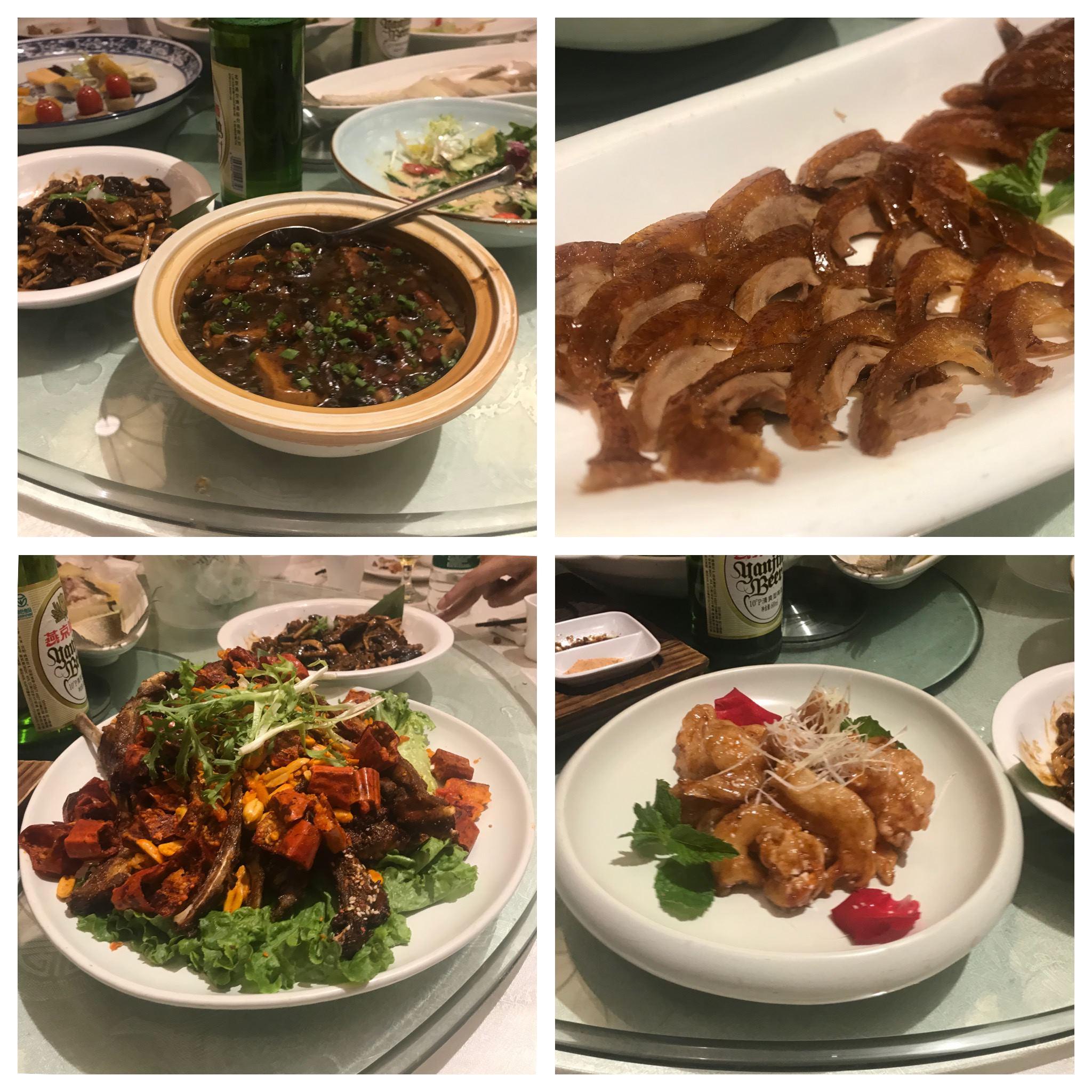 왼쪽 위부터 시계방향으로 간장(?) 마파두부, 베이징덕, 크림새우, 매콤한 양갈비
